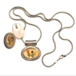 VTG 925 Pressed Flower Jewelry Set